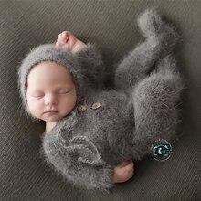 Pasgeboren Footed Romper Fotografie Rekwisieten, Handgemaakte Nertsen Garen Outfits Bodysuit Met Bonnet Baby Fotografie Props