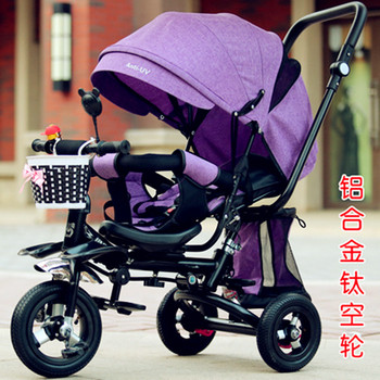 3 In 1 Child Tricycle Stroller Baby Carriage with 3 Wheels Trolley Baby Trike Bicycle Stroller Car with Shopping Cart Pushchair