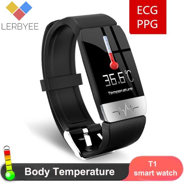 2020 Smart Bracelet T1s with Body Temperature ECG Fitness Tracker Waterproof Heart Rate Monitor Smart Watch Sport Men Women Band
