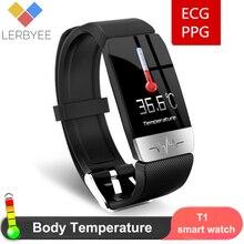 2020 inteligente pulseira t1s com temperatura do corpo ecg rastreador de fitness monitor de freqüência cardíaca à prova dwaterproof água relógio inteligente esporte das mulheres dos homens banda