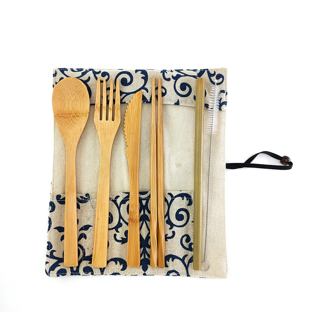Tableware Set Bamboo Cutlery Set Wood Straw with Travel Cloth Bag Wooden Spoon Fork Knife Dinnerware Set Wholesale|Dinnerware Sets| |  -