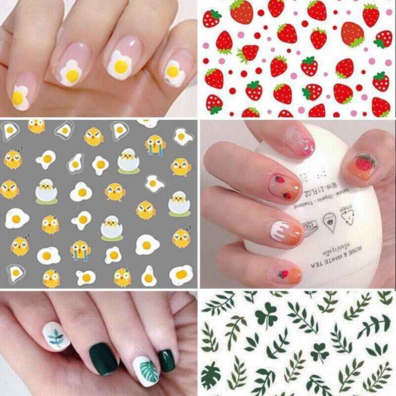 1Set Nail Sticker Cute Type Nails Art Manicure Back Glue Decal Decorations Nail Sticker for Nails Tips Beauty