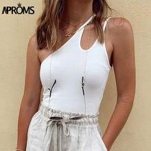 Женские ребристые топы на одно плечо aproms летние облегающие