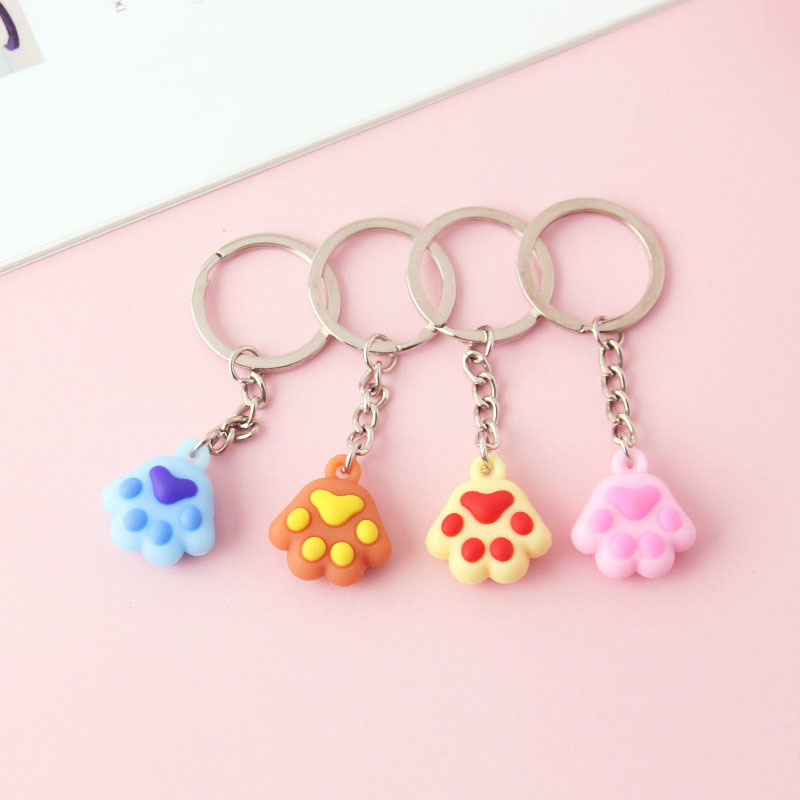 1pc Cartoon Colorful Cat's Paw Key Chain Doll Key Ring Gift For Women Girls Bag Pendant Figure Charms Key Chains Jewelry