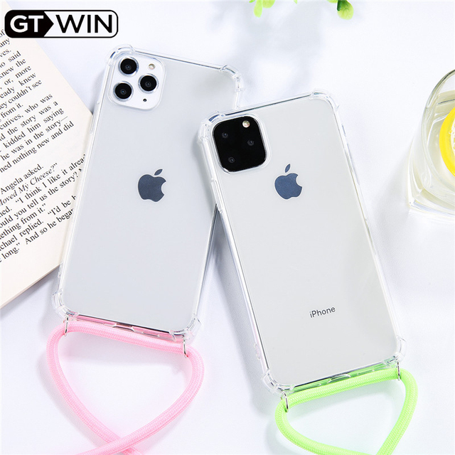 GTWIN Fluorescence Tape Necklace Lanyard Phone Case iPhone 11 Pro 5 6 7 8 Plus X XR XS Max Soft Clear Cover Shell For Carry *4000392069010