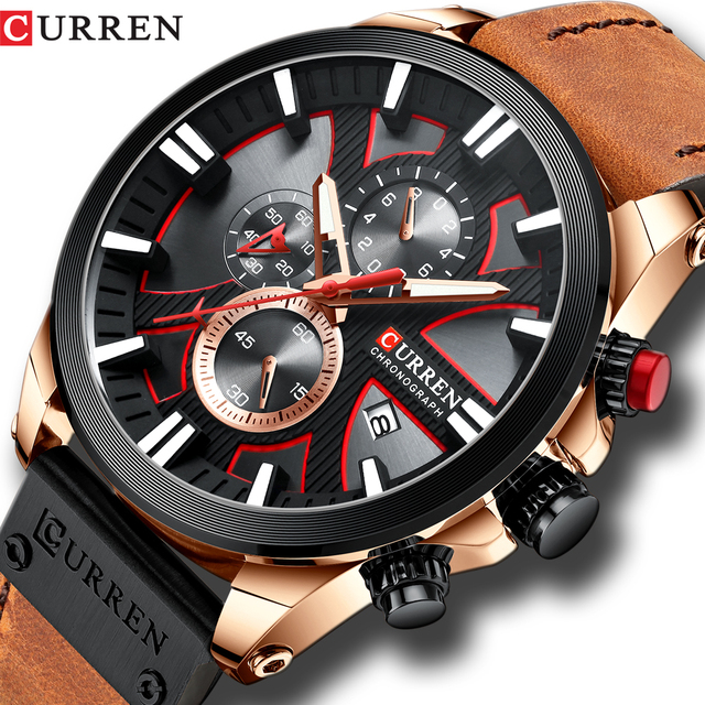 2019 CURREN Mens Watches Top Brand Luxury Fashion Leather Strap Sport Quartz Watches Outdoor Casual  Wristwatch Waterproof Clock
