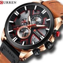 2019 CURREN Mens Watches 톱 브랜드 럭셔리 패션 가죽 스트랩 스포츠 쿼츠 시계 야외 캐주얼 손목 시계 방수 시계