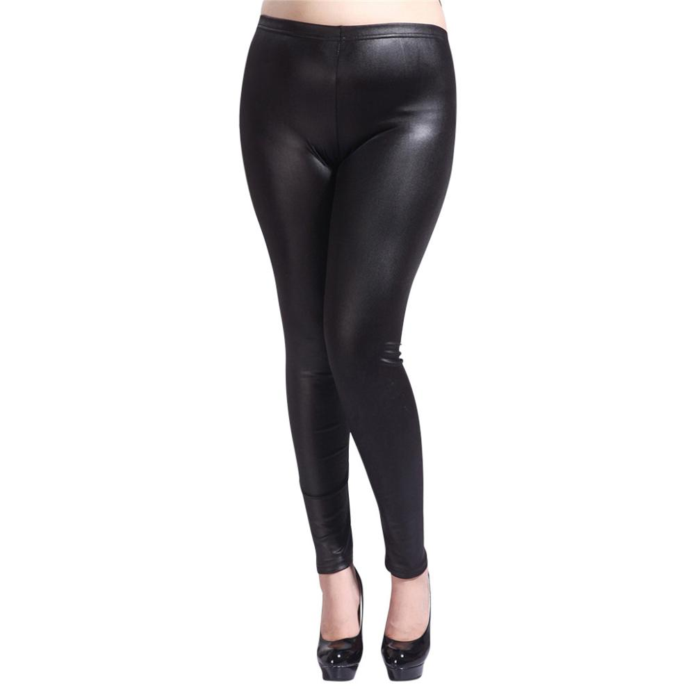 Women High Elastic Thin Faux Leather Leggings Large Size S-5XL Imitation Leather Pants Skinny Shiny Black Plus Leggings