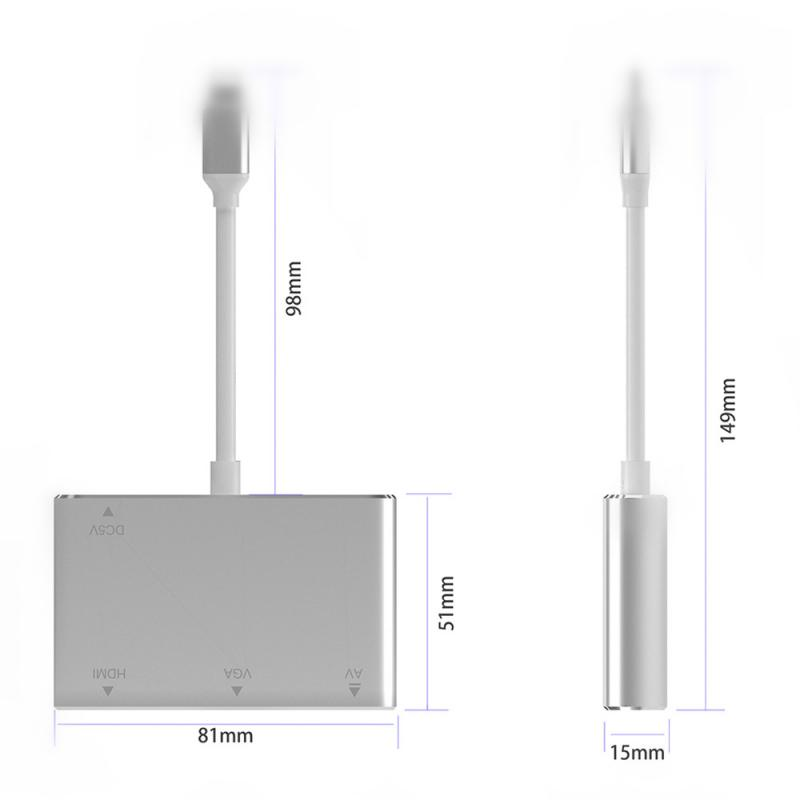 For Lightning To HDMI VGA Jack Audio TV Adapter Converter Compatible For IPhone X For IPhone 8 7 7 Plus 6 6S For IPad