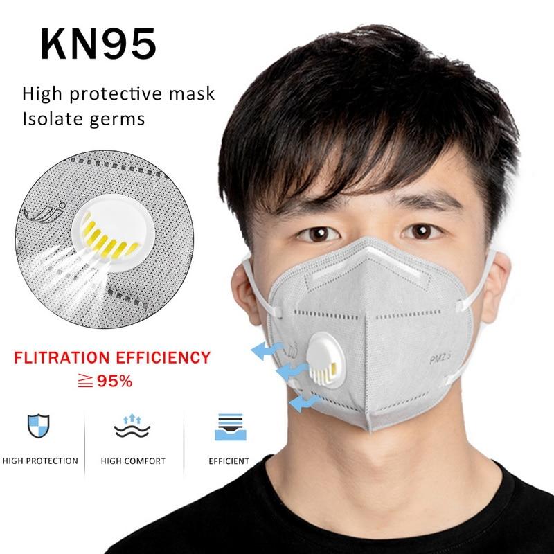 10pcs KN95 Adult Vertical Folding Nonwoven Valved Dust Mask PM2.5 Respirator Mouth Masks With Valve Gauze Haza Anti-vi/rus Masks