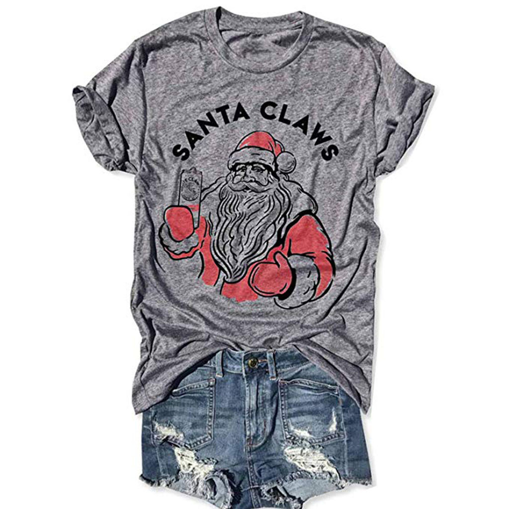 2020 Tshirt Women Christmas Santa Letter Print Short Sleeve O-neck T-shirt Tunic Tops Casual Tees Camisetas Mujer Manga Corta