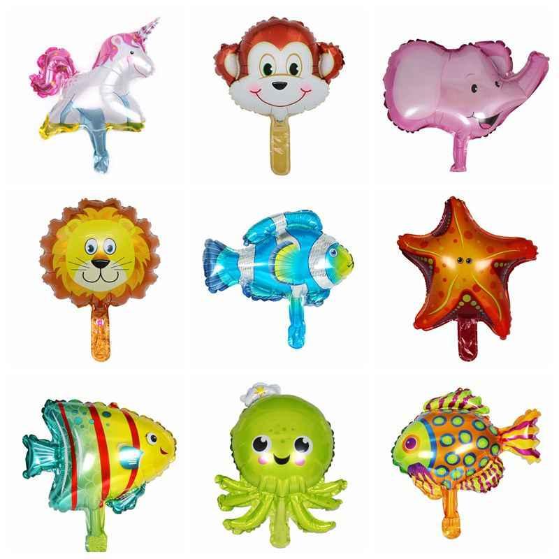 1pcs Mini Animais Balões Balões Folha Cabeça Crianças Tema Do Aniversário Do Partido Da Selva Oceano Bolas de Peixe Brinquedos de Banho Do Bebê Inflável Unicórnio partido
