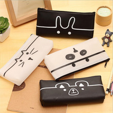 Cute cartoon animal jelly gel pencil bag PU leather simple translucent creative student stationery box pencil bag