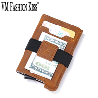 VM FASHION KISS NEW Men's Wallet Microfiber Aluminum Box RFID Credit Card Holder Wallet Unisex Vintage Universal Pocket Wallets