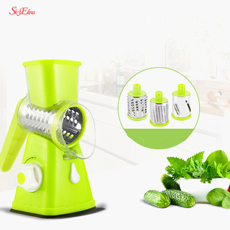 Blue 3 Drum Blades Manual Vegetable Slicer Nut Grinder with Strong Suction Base Easy to Clean X Home Rotary Cheese Grater Shredder