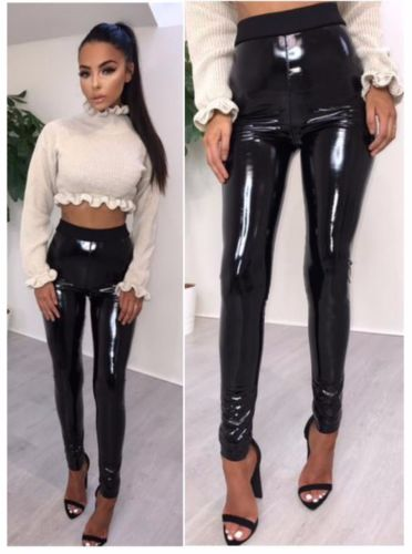 Hot Sale Women Vinyl PVC Wet Look High Waist Pants Female Shiny Disco Elasticated Skinny Pencil Sexy Pants Outfits