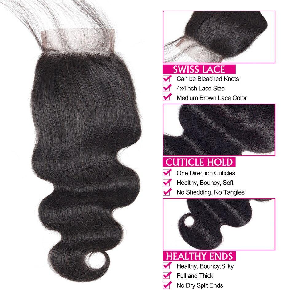 H582c8e162dd04b498aeea046d40bbfa8s FABC Hair Brazilian Hair Weave Bundles With Closure Pre Plucked Body Wave Human Hair Middle Ratio Non Remy Hair Natural Black