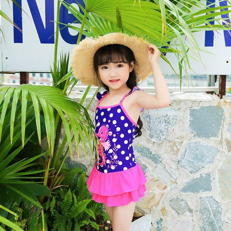Girls KID'S Swimwear Korean-style Siamese Swimsuit Camisole Flounced Beach Hot Springs Play With Water Service Sweet Cute