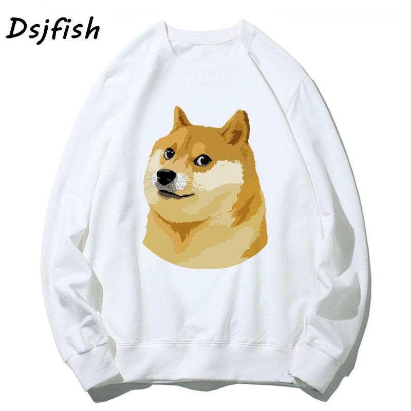 Men Hoodies Sweatshirts Doge Deus God Dog Shiba Inu White Long Sleeve O Neck Top Women Fashion Cartoon Hoody For Girl Boy