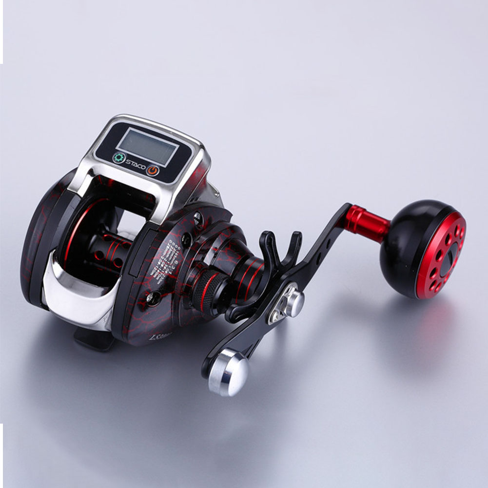 6.3:1 Tools Digital Display Saltwater Aluminium Spool 15 Ball Bearing Plastic Fishing Reel Hand Spinning Portable High Strength