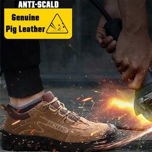 Image 4 - ความปลอดภัยรองเท้า STEEL TOE CAP รองเท้า Trekking รองเท้าผ้าใบรองเท้าผู้ชายน้ำหนักเบาทำงานรองเท้าทำลายรองเท้า