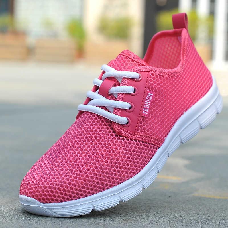 Yeni ışık örgü ayakkabı moda nefes büyük boy erkek ayakkabıları 46 rahat çift ayakkabı ve kadın ayakkabısı Zapatos De Hombre