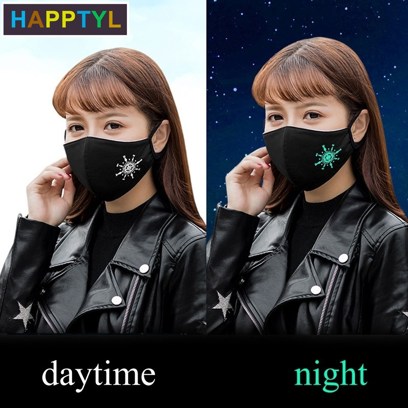 HAPPTYL 1Pcs Fashion Black Luminous Anti Dust Face Mouth Cover Mask Respirator - Dustproof Anti-bacterial Washable - Reusable