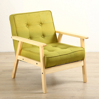 Japanese Sofa Single Cloth Double Three Living Room Solid Wood Sofa Restaurant Solid Wood Dining Chair Shop Sofa