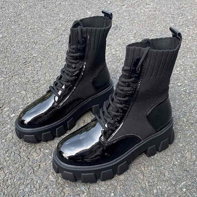 2020 neue Frauen Armee Kampf Knöchel Stiefel Frau Schuhe Casual Lace Up Gothic Schwarze Socke Plattform Leder Stiefel Mode Botas mujer
