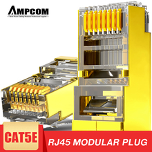AMPCOM Shielded RJ45 CAT5E Connector Modular Plug Connector 8P8C Crimp End Ethernet Cable Ethernet Connector Gold Plated 50U