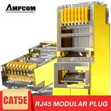 Ampcom blindado rj45 cat5e conector de tomada modular 8p8c crimp final ethernet cabo ethernet conector banhado a ouro 50u