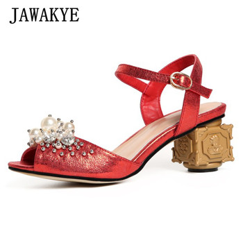 Jewelry embellished gladiator Sandals handmade beaded Shoes Summer Block metal high Heel ethnic trible pearly Shoes Women