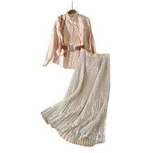 Женские костюмы, юбка, комплект из 2 предметов, одежда с принтом, рубашка с отложным воротником, блузка с длинным рукавом, топ+ плиссированная юбка, юбка макси с пайетками