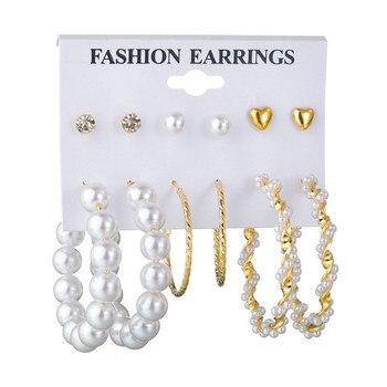 WUKALO Vintage Big Gold Circle Hoop Earrings For Women Clip on Earrings Eye Pearl Heart Earring Set  Brincos Statement Jewelry 3