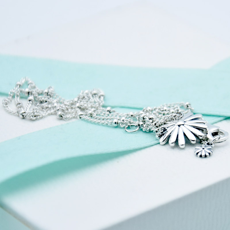 New 925 Sterling Silver Necklace Pave Daisy Flower Collier With Crystal Necklace For Women Wedding Gift Diy Europe Jewelry