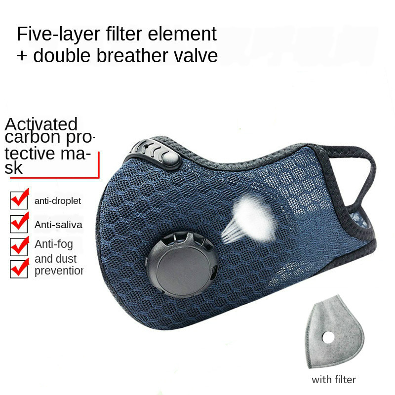 1 Mesh Mask +1 Piece Activated Carbon 5-Layer Filter Outdoor Riding Sports Protective Masks Washable Anti Dust Mask With Valve