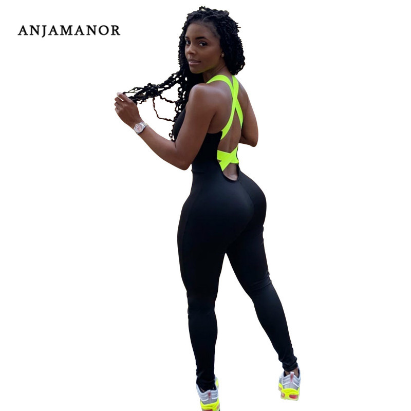 ANJAMANOR Sexy Sports Woman Jumpsuit Neon Green Ribbon Cross Backless Bodycon Romper One Piece Outfits Women Overalls D42-AC12