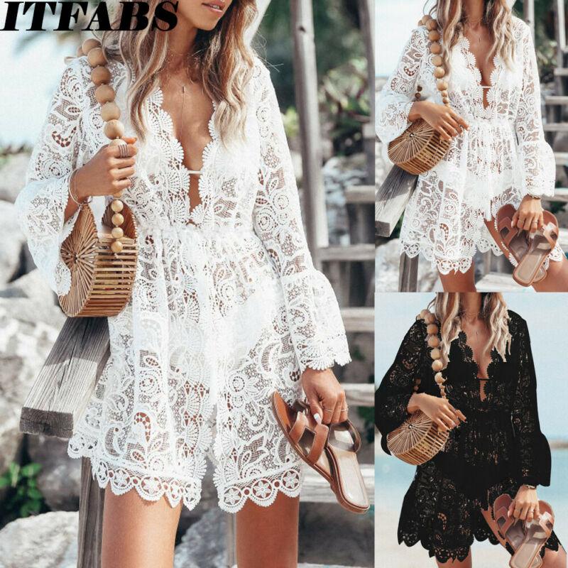 ><font><b>Women</b></font> Sheer <font><b>Lace</b></font> Bikini Cover-<font><b>up</b></font> Summer Cardigan Swimwear Beach Short Dress Hollow out Floral V Neck Elegant Mini Lady Dress Top