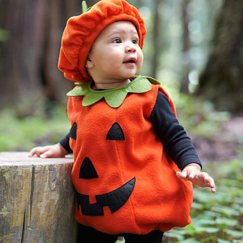 Pumpkin Cosplay Costume Child Halloween Festival Celebrate Lovely Sleeveless Girls Boys Stage Perform High Quality Hat Top Suits
