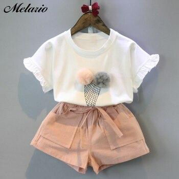 Melario Cotone Vestiti Per Ragazze Set Maglia di Estate A Due Pezzi Senza Maniche Per Bambini Insiemi Delle Ragazze di Modo Copre il Vestito Casual Dot Abiti 1