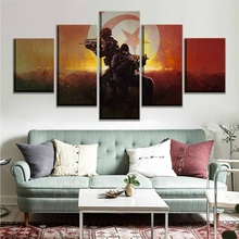 Canvas Painting Prints Home Decor 5 Panel Counter-Strike Global Offensive Flag Tunisia Army Soldier Game Modular Pictures Poster