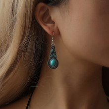 Vintage Drop Earrings For Women Ethnic Bohemian Blue Crystal Green Turquoises Stone Dangle Earrings For Women(China)