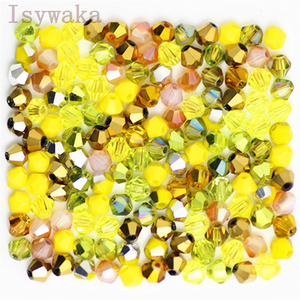 Isywaka U Choice 100pcs 4mm Bicone Austria Crystal Beads charm Glass Beads Loose Spacer Bead for DIY Jewelry Making