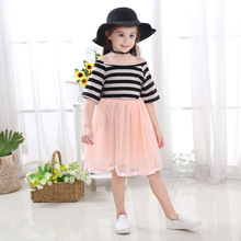 Vgiee Kids Dress Children's Costumes Striped Short Clothes for Girls Age 8 Years Girls Summer Dress girls striped frill trim dress