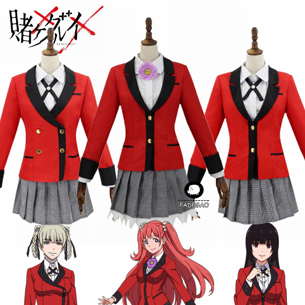 Full Set JP Anime Kakegurui Cosplay Costume Halloween Jabami Yumeko Cosplay Costume Igarashi Sayaka COSPLAY School Uniform
