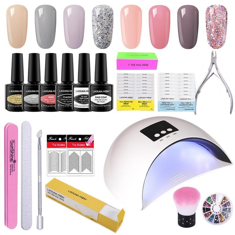 Lagunamoon 8Pcs Color Gel Nail Polish Set + Top Base Coat Nail Extension UV LED Soak Off Varnish Lacquer Manicure Salon