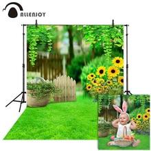 Allenjoy Nhiếp Ảnh Backdrop Mùa Xuân Lễ Phục Sinh Gỗ Hàng Rào Hoa Hướng Dương Cỏ Xanh Nền Ảnh Phòng Thu Photophone Photocall Đạo Cụ