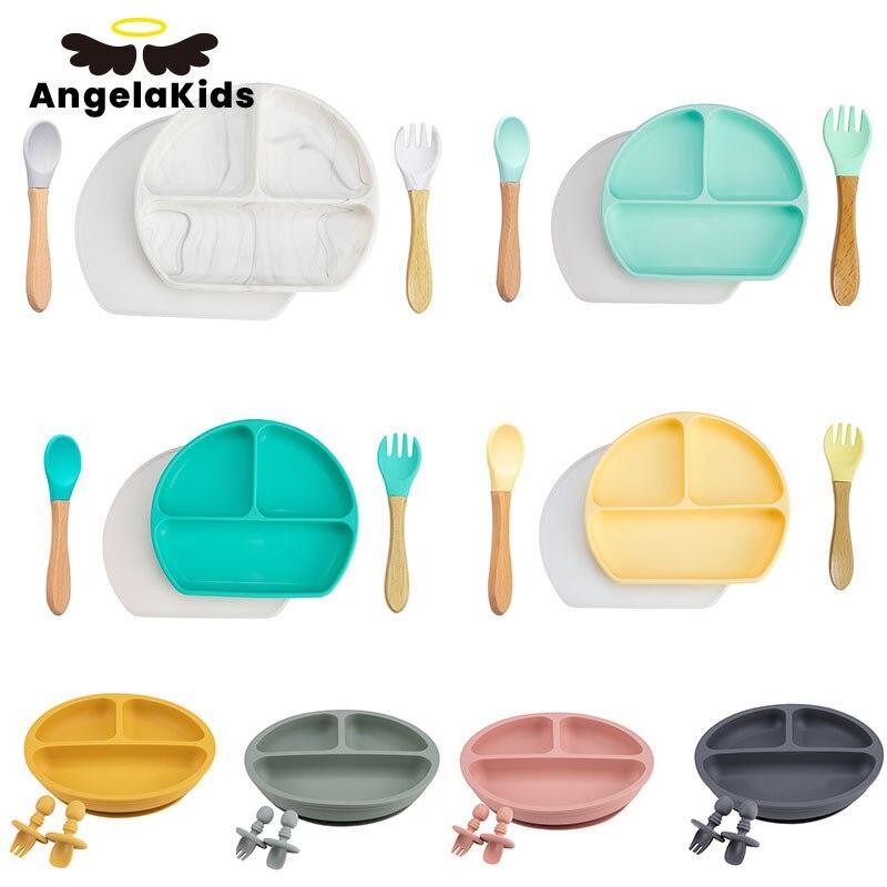 Тарелка деревянная для кормления ребенка, ложка, вилка, присоска, обеденная тарелка для малышей, тренировочная посуда без БФА