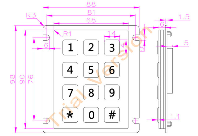 12 Keys 3x4 Matrix USB Kiosk Keypads Metal Stainless Steel Numeric Keypad For Access Control 5