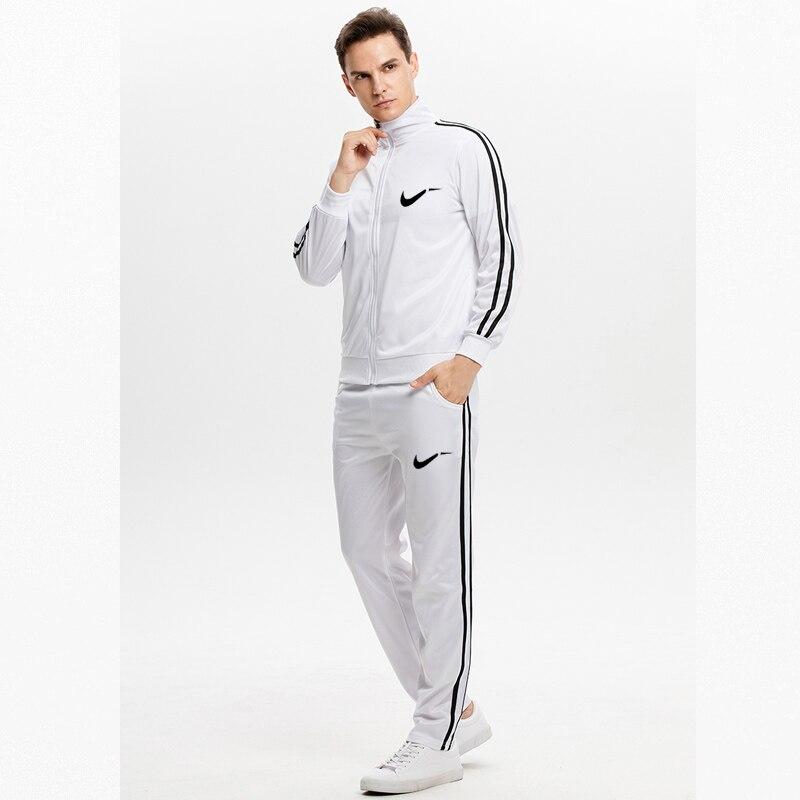 New 2019 Autumn Winter Men's Sweatsuit Sets 2 Piece Zipper Jacket Track Suit Pants Casual Tracksuit Men Sportswear Set Clothes